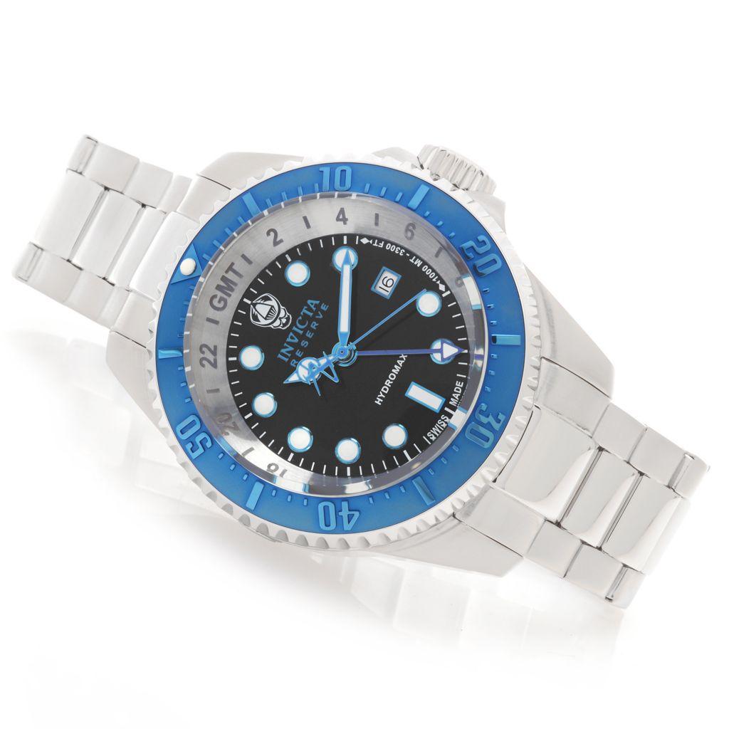 628-365 - Invicta Reserve 52mm Hydromax Swiss Made Quartz GMT Bracelet Watch w/ Eight-Slot Dive Case