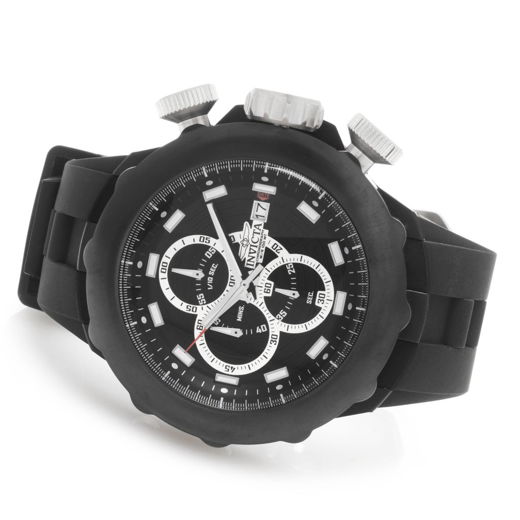 628-367 - Invicta 51mm I Force Quartz Chronograph Silicone Strap Watch w/ One-Slot Dive Case