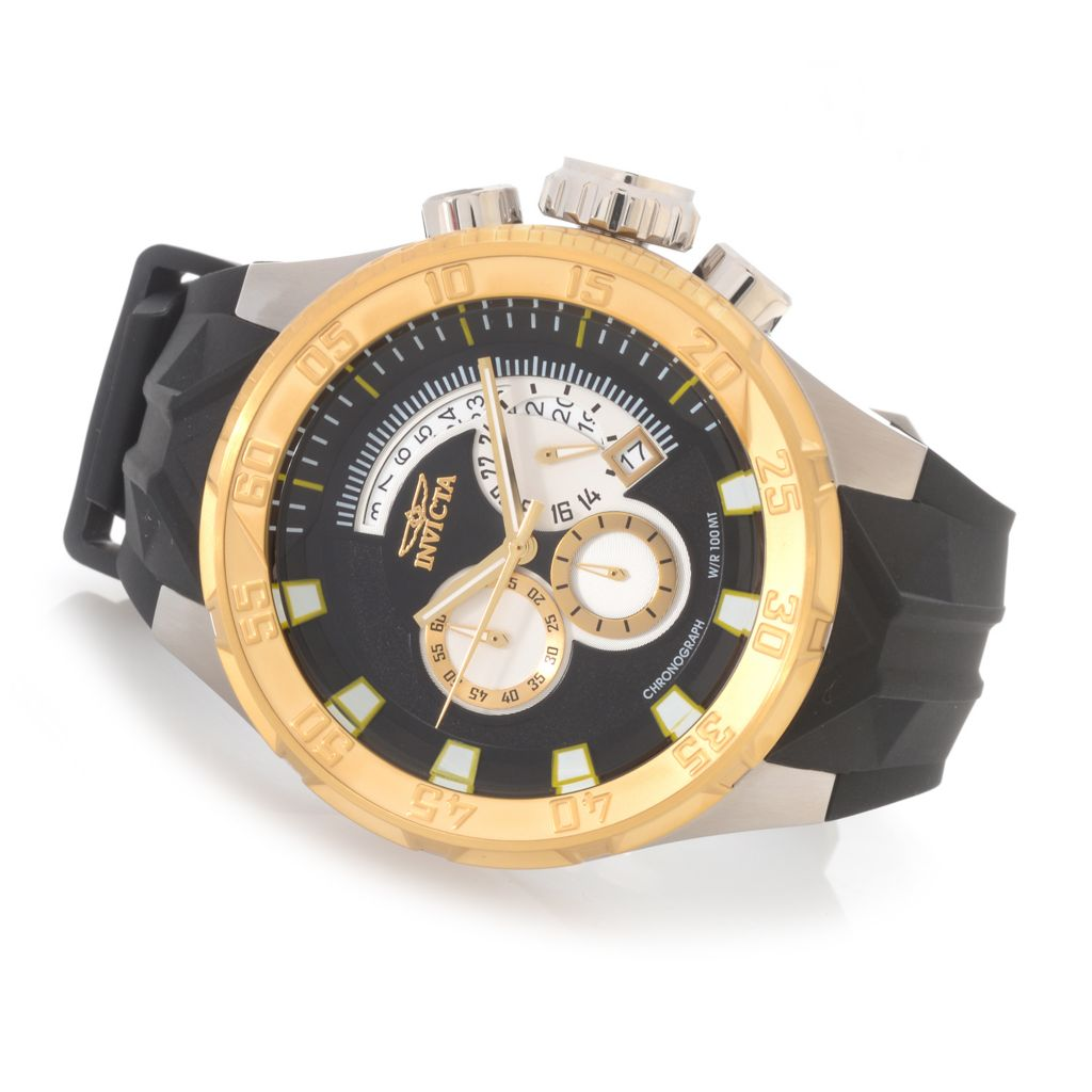 628-379 - Invicta 50mm I Force Quartz Chronograph Stainless Steel Silicone Strap Watch
