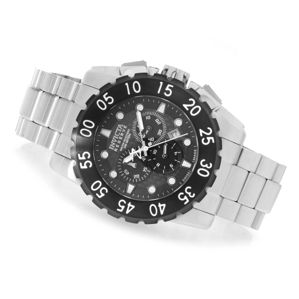 628-382 - Invicta Reserve 52mm Leviathan Swiss Chronograph Stainless Steel Bracelet Watch w/ 1-Slot Dive Case