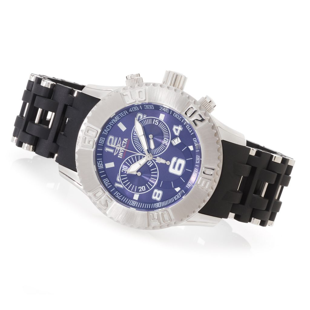 628-383 - Invicta 50mm Sea Spider Quartz Chronograph Polyurethane Bracelet Watch w/ Three-Slot Dive Case