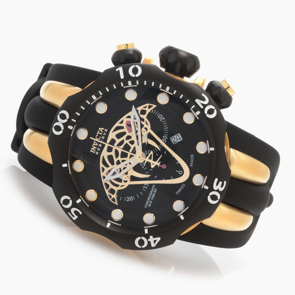 628-386 - Invicta Reserve 52mm Venom Snake Eyes Swiss Chronograph Watch w/ One-Slot Dive Case