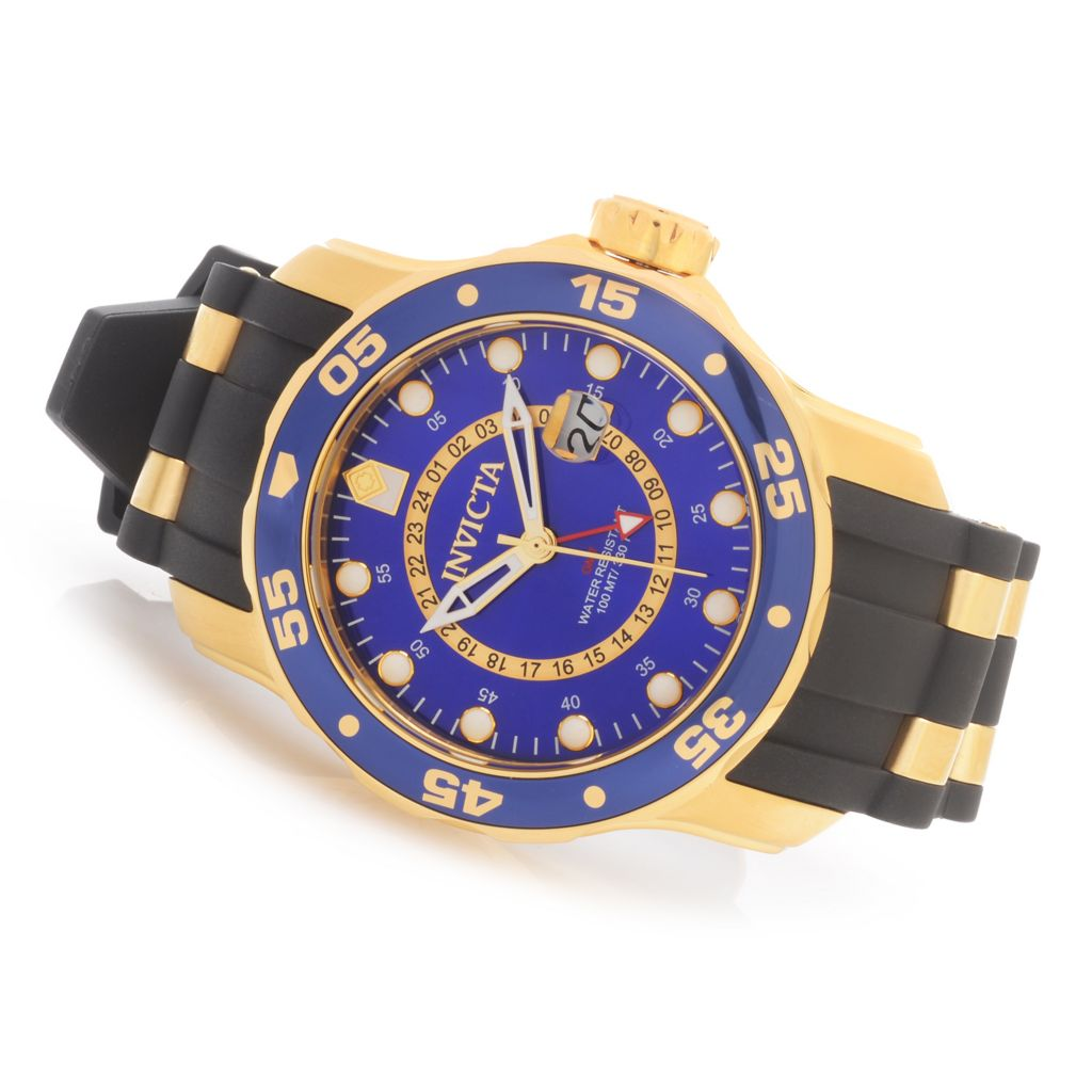 628-387 - Invicta 48mm Pro Diver Scuba Quartz GMT Polyurethane Strap Watch w/ One-Slot Dive Case