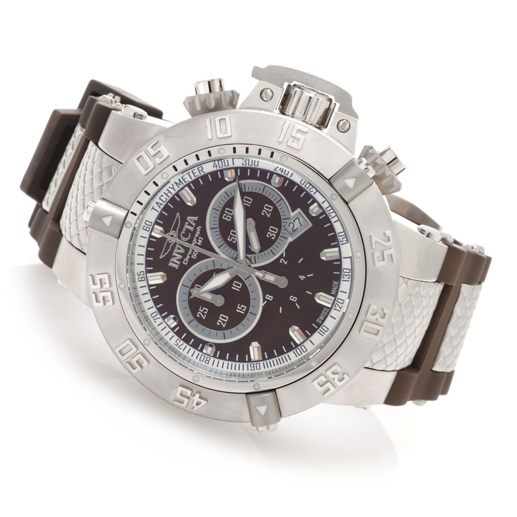 628-389 - Invicta 50mm Subaqua Noma III Swiss Made Quartz Chronograph Polyurethane Strap Watch
