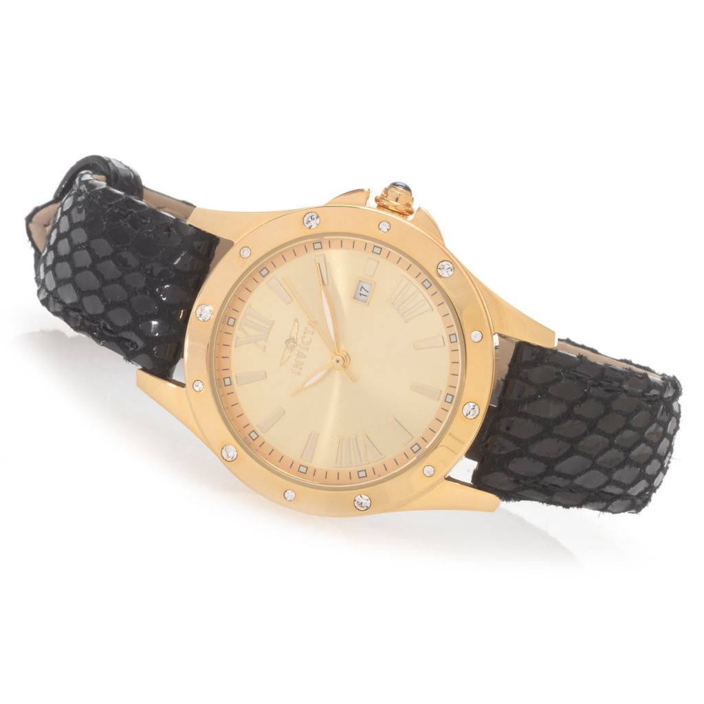 628-390 - Invicta Women's Angel Quartz Crystal Accented Stainless Steel Leather Strap Watch
