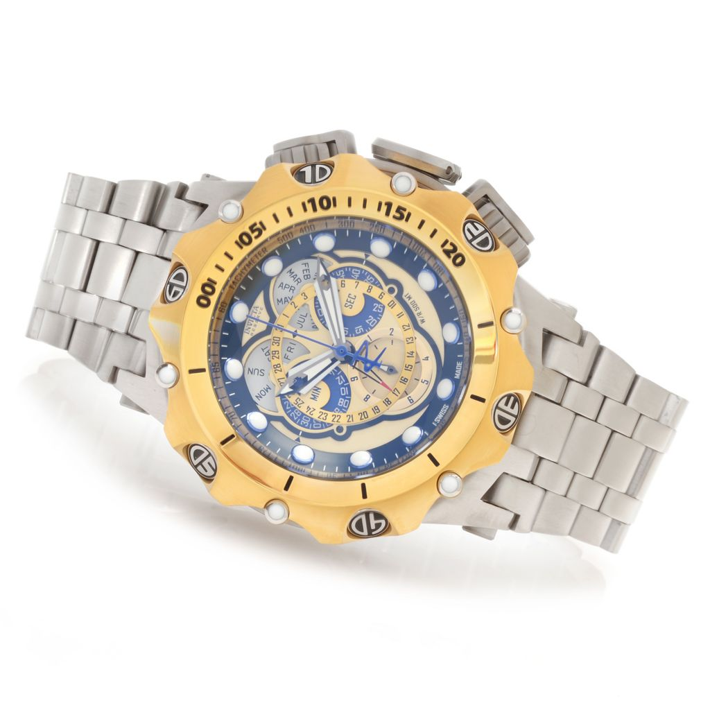 628-391 - Invicta Reserve 62mm Hybrid Swiss Master Calendar Stainless Steel Bracelet Watch w/ 8-Slot Dive Case