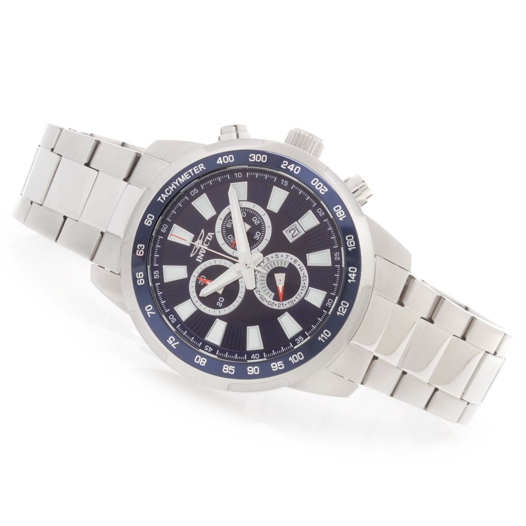 628-397 - Invicta 45mm Specialty Quartz Chronograph Stainless Steel Bracelet Watch w/ Travel Box