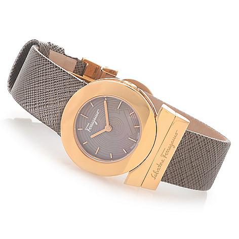 628-400 - Ferragamo Women's Gancino Swiss Made Quartz Mother-of-Pearl Leather Strap Watch