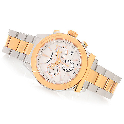 628-403 - Ferragamo 42mm Salvatore Swiss Made Quartz Chronograph Stainless Steel Bracelet Watch