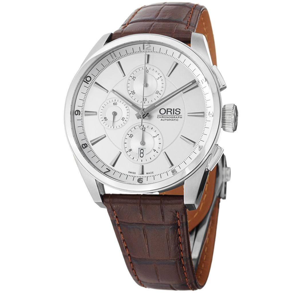628-408 - Oris 44mm Artix Swiss Made Automatic Chronograph Leather Strap Watch