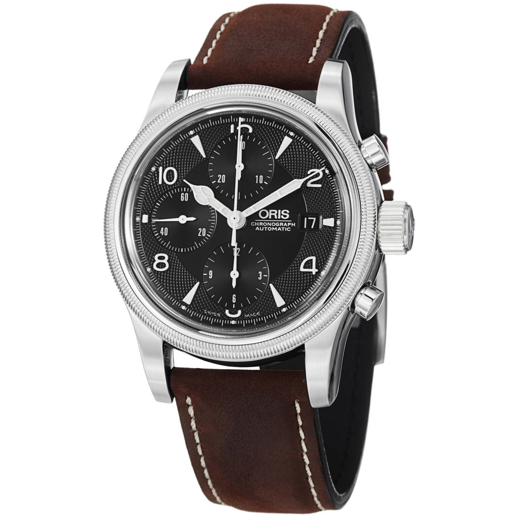 628-420 - Oris 42mm Oskar Swiss Made Automatic Chronograph Leather Strap Watch