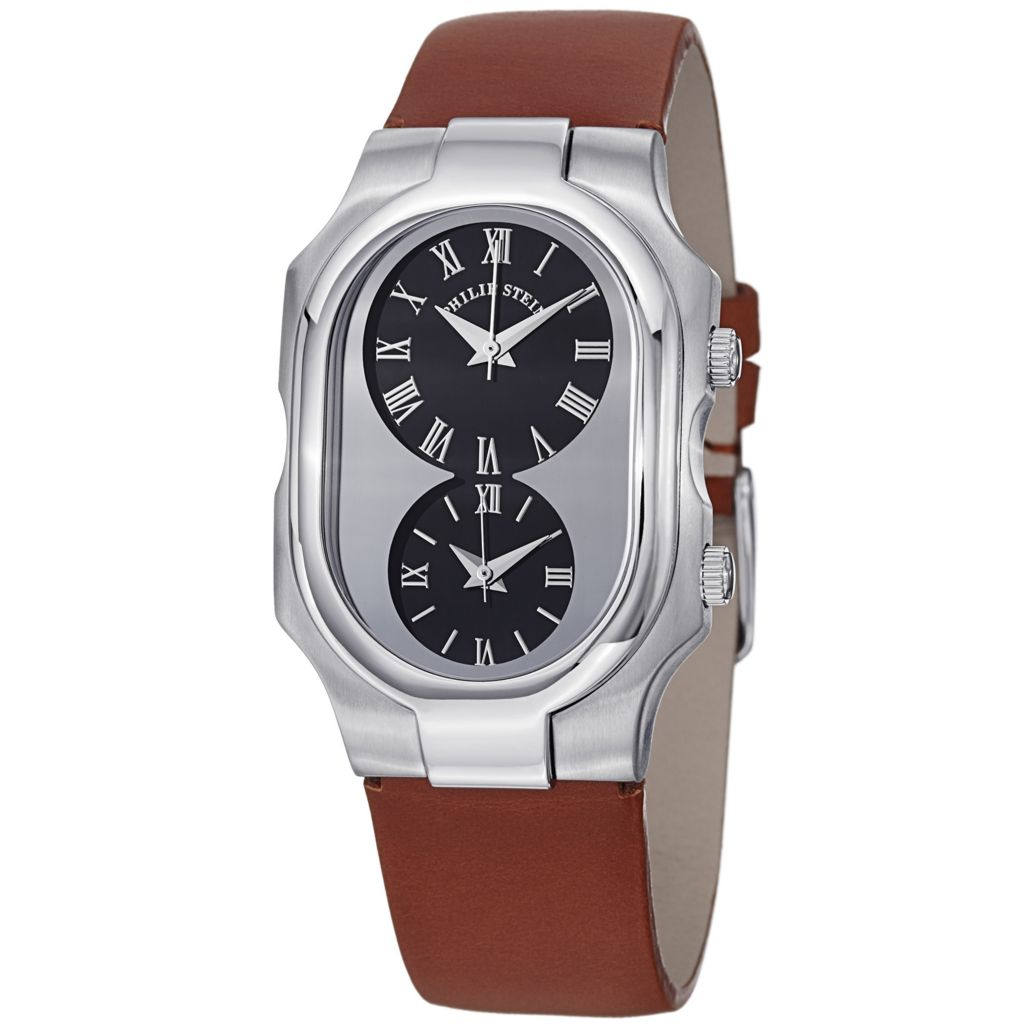 628-423 - Philip Stein Women's Signature Swiss Quartz Dual Time Leather Strap Watch