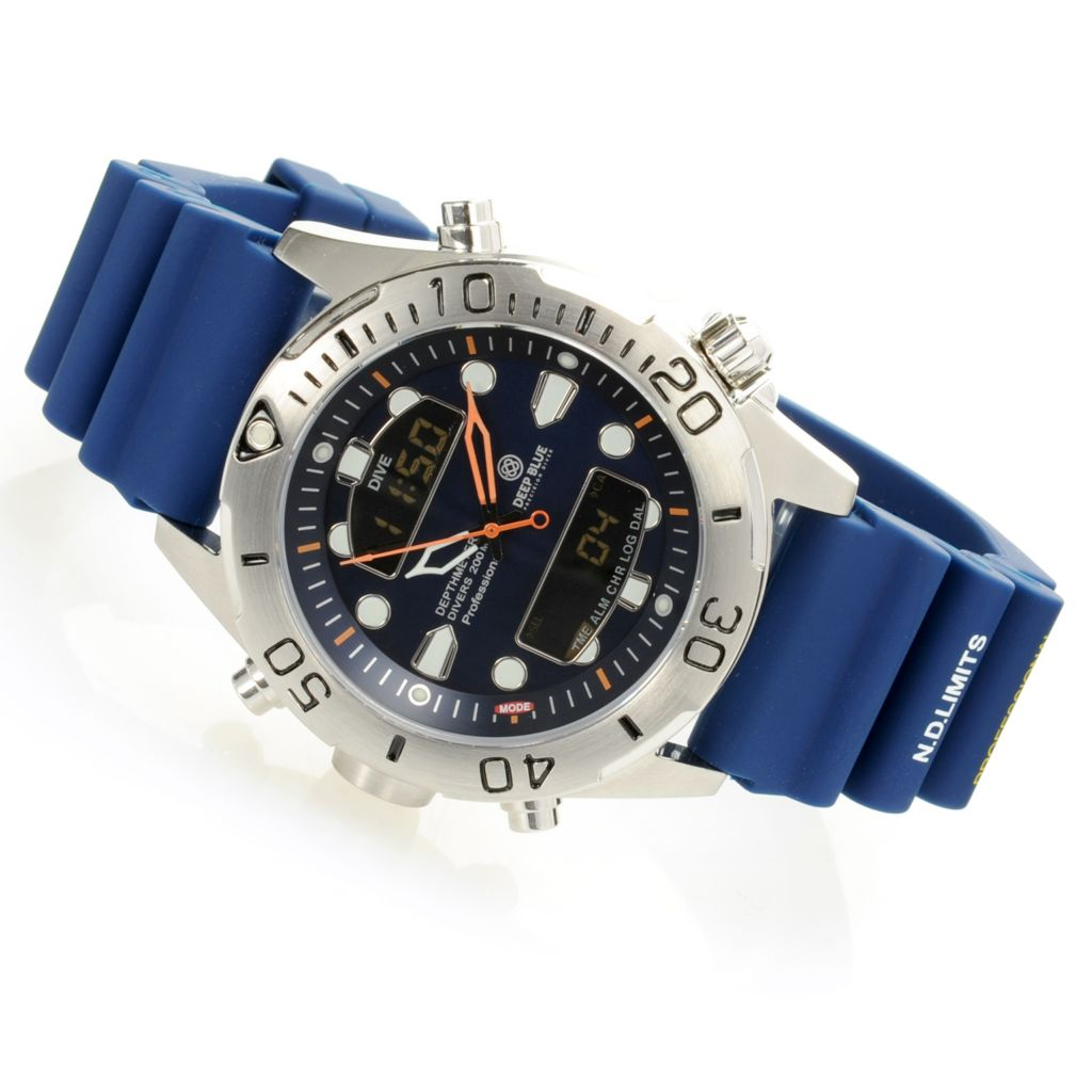 628-424 - Deep Blue 45mm Depthmeter Ana/Digi Quartz Stainless Steel Silicone Strap Watch