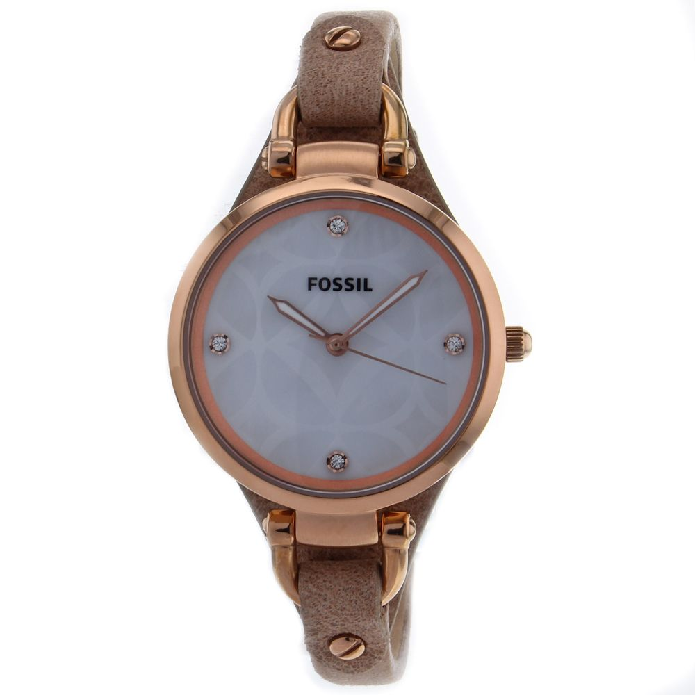 628-428 - Fossil Women's Georgia Quartz Crystal Accented Dial Leather Strap Watch