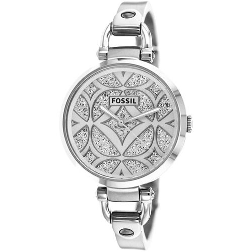628-429 - Fossil Women's Georgia Quartz Crystal Accented Dial Stainless Steel Bangle Bracelet Watch