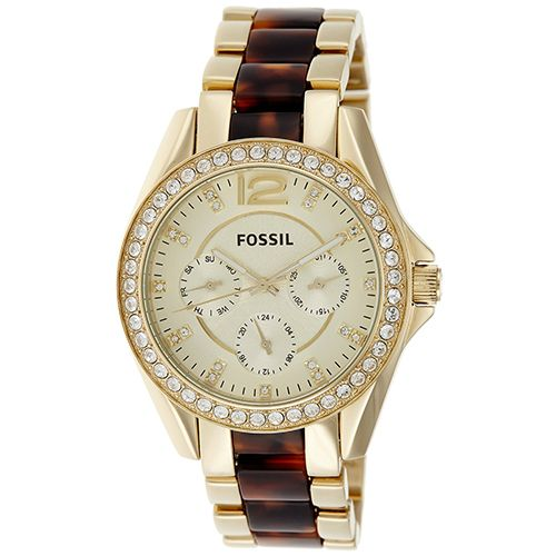 628-431 - Fossil Women's Riley Quartz Multi Function Crystal Accented Stainless Steel Bracelet Watch