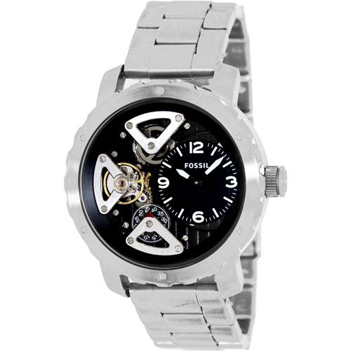 628-433 - Fossil 46mm Twist Quartz Skeletonized Dial Stainless Steel Bracelet Watch