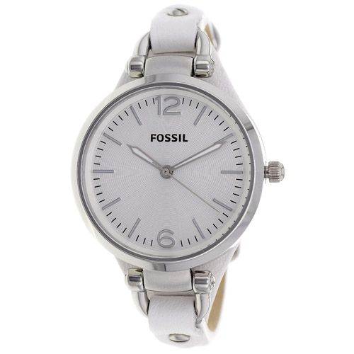 628-435 - Fossil Women's Georgia Quartz White Leather Strap Watch
