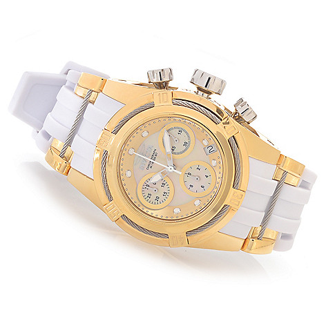 628-453 - Invicta Women's Bolt Zeus Quartz Chronograph Mother-of-Pearl Polyurethane Rubber Strap Watch