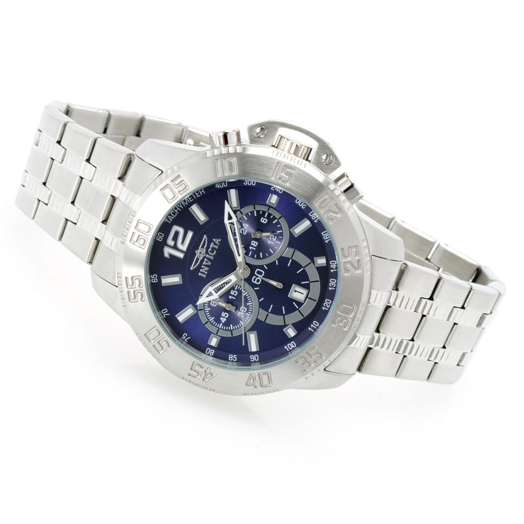 628-459 - Invicta 48mm Elite Diver Quartz Chronograph Stainless Steel Bracelet Watch w/ Travel Box