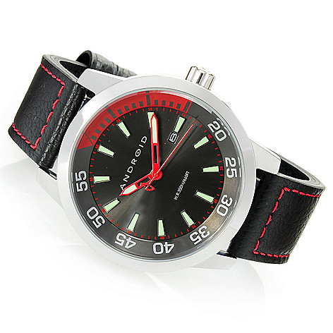628-466 - Android 46mm Antiforce Quartz Stainless Steel Leather Strap Watch