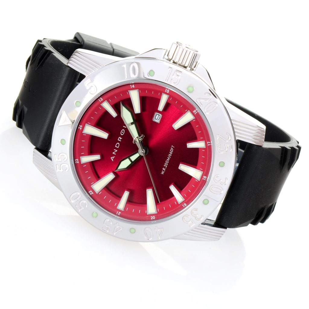 628-467 - Android 49mm Time Machine Quartz Sunray Dial Stainless Steel Rubber Strap Watch