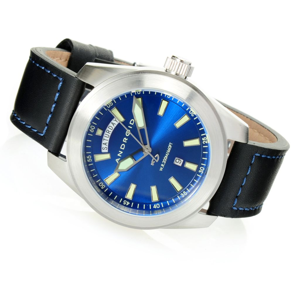 628-470 - Android 46mm or 49mm Skyguardian Quartz Day/Date Stainless Steel Leather Strap Watch