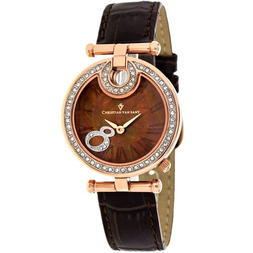 628-472 - Christian Van Sant Women's Sparkles Quartz Mother-of-Pearl Crystal Accent Leather Strap Watch