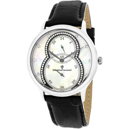 628-473 - Christian Van Sant Women's Infinie Quartz Mother-of-Pearl Dial Crystal Accent Leather Strap Watch