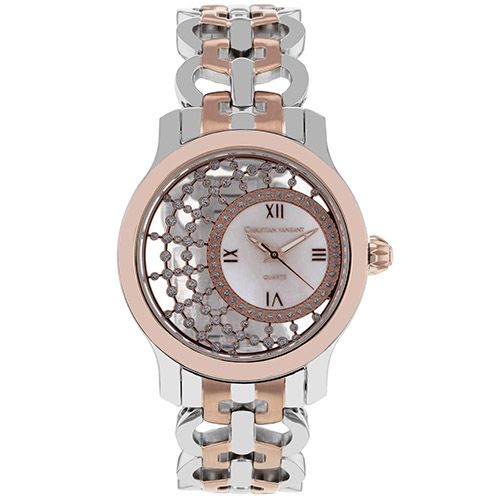 628-474 - Christian Van Sant Women's Delicate Quartz Crystal Accented Stainless Steel Bracelet Watch