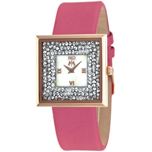 628-477 - Jivago Women's Brilliance Quartz Mother-of-Pearl Crystal Accented Leather Strap Watch