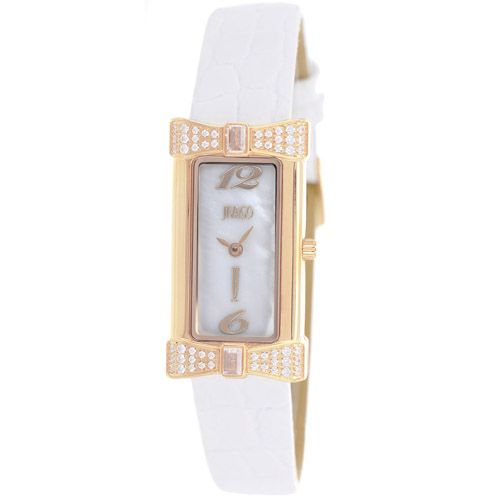 628-478 - Jivago Women's Charmante Quartz Mother-of-Pearl Crystal Accented Leather Strap Watch