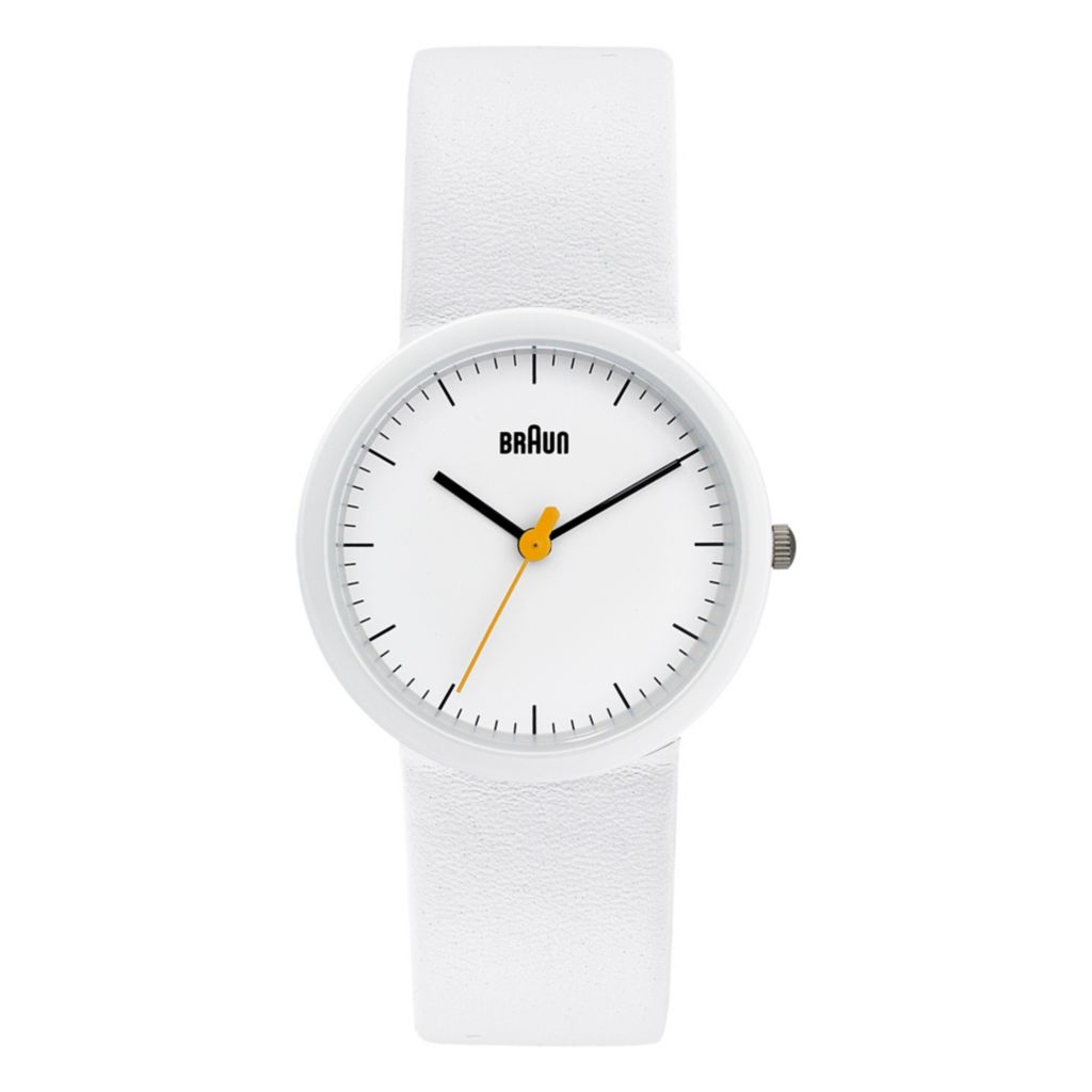 628-494 - Braun Women's Classic Quartz Ceramic Bezel Leather Strap Watch