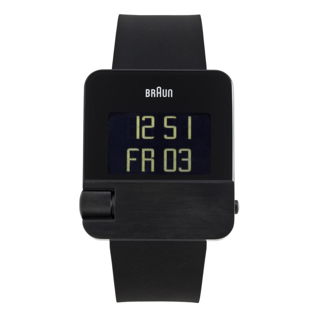 628-503 - Braun Rectangular Prestige Digital Chronograph Perpetual Calendar Polyurethane Strap Watch