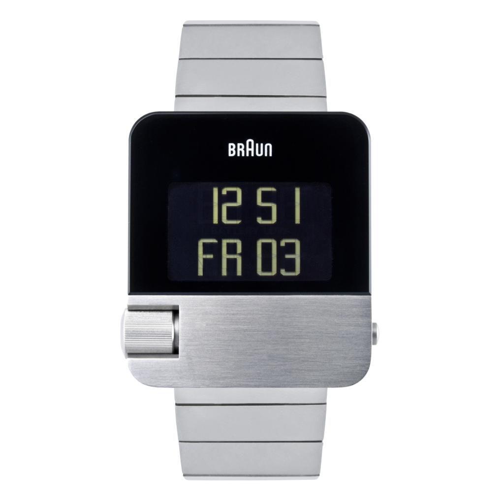 628-504 - Braun Rectangular Prestige Digital Chronograph Perpetual Calendar Stainless Steel Bracelet Watch