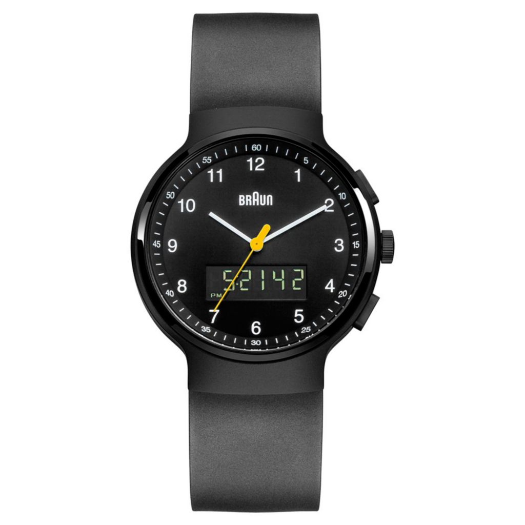 628-507 - Braun 44mm Classic Ana/Digi Dual Time Polyurethane Strap Watch