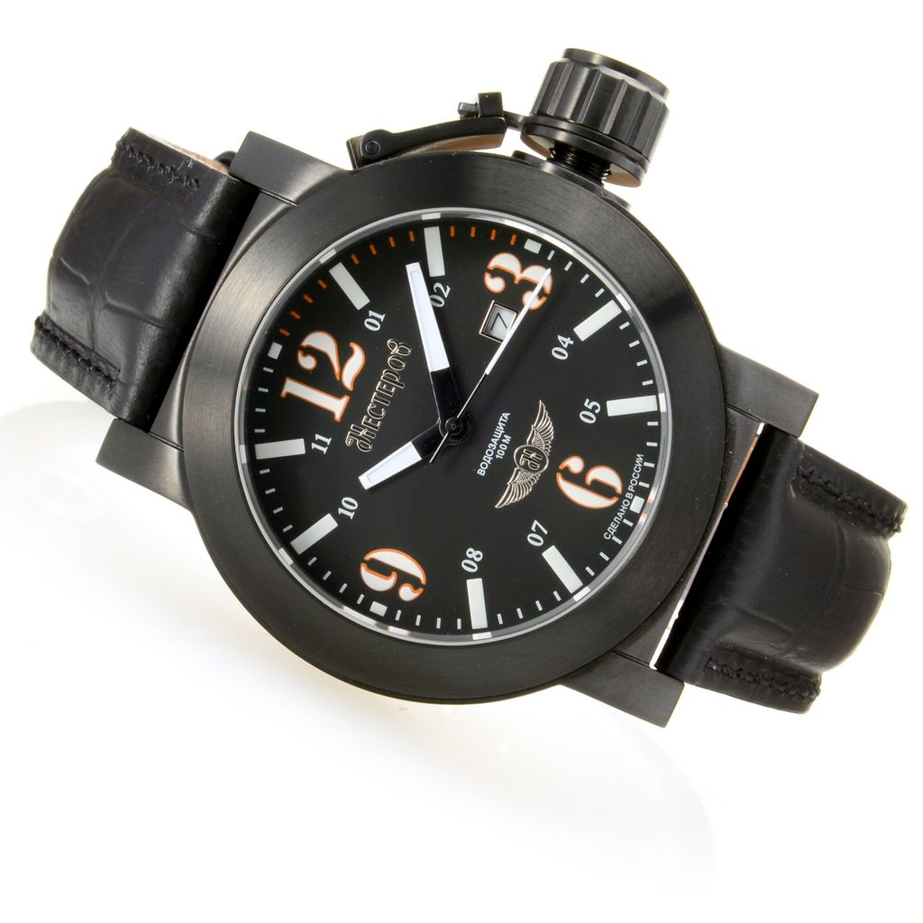 628-525 - Nesterov Russian 45mm Yak-1 Fighter Limited Edition Quartz Leather Strap Watch