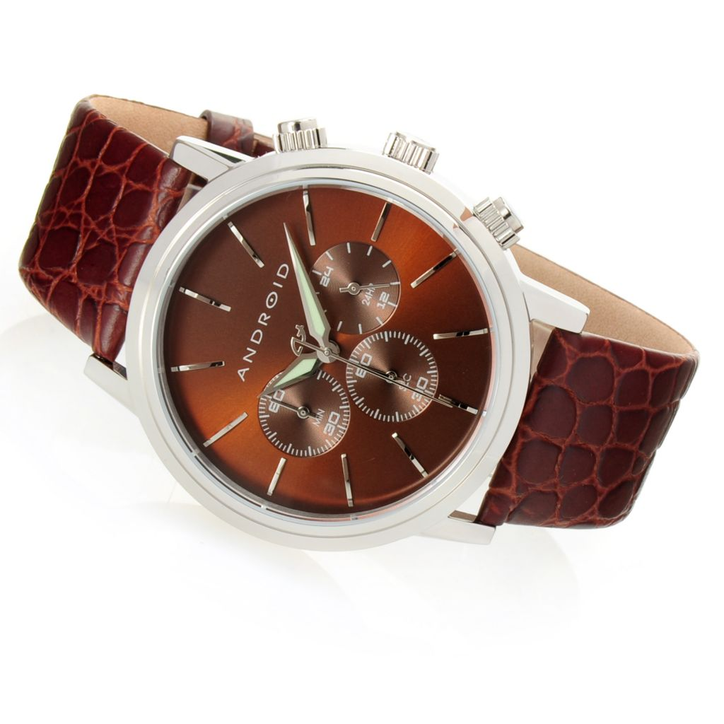 628-530 - Android 45mm Ultra Quartz Chronograph Textured Leather Strap Watch