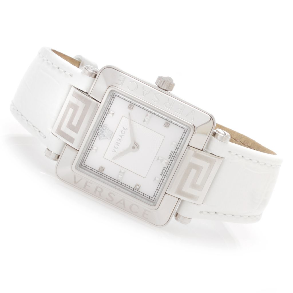 628-539 - Versace Women's Reve Swiss Made Quartz Diamond Accented Leather Strap Watch