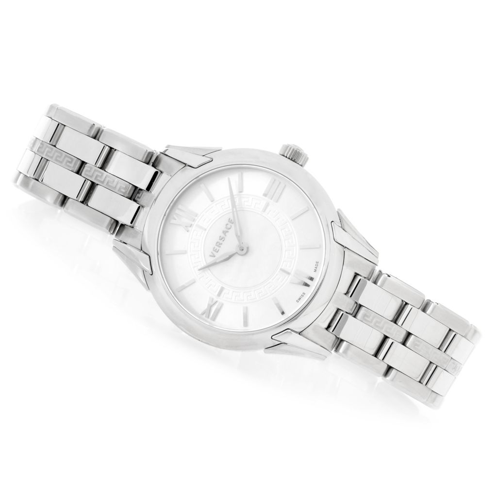 628-542 - Versace Women's Dafne Swiss Made Quartz Sunray Dial Stainless Steel Bracelet Watch