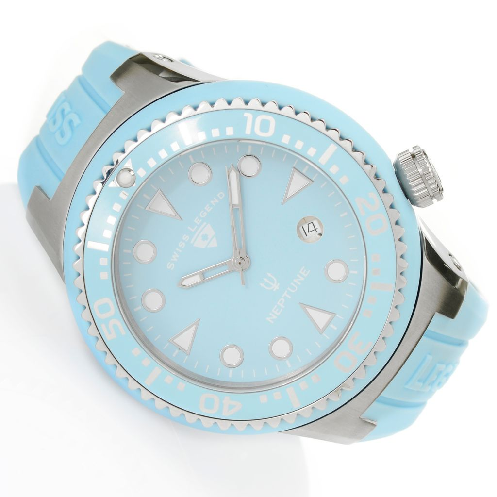 628-545 - Swiss Legend 48mm Neptune Swiss Quartz Silicone Strap Watch