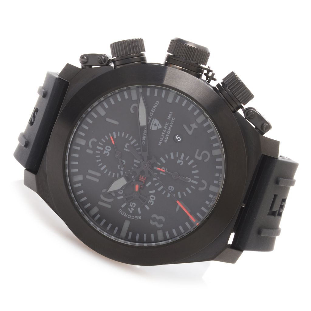 628-548 - Swiss Legend 53mm Militare No. 1 Limited Edition Swiss Valjoux 7750 Rubber Strap Watch