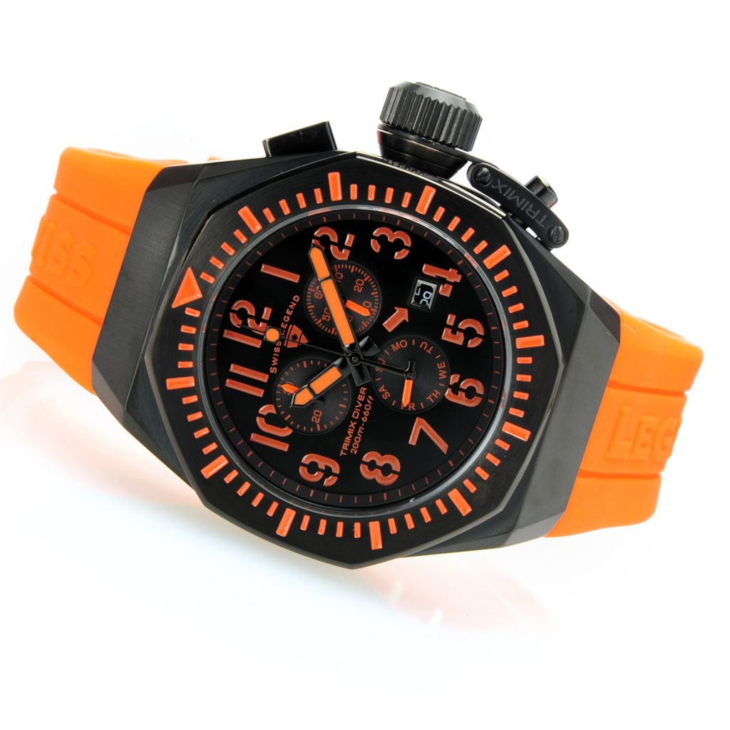 628-549 - Swiss Legend Tonneau Trimix Diver Swiss Quartz Chronograph Silicone Strap Watch