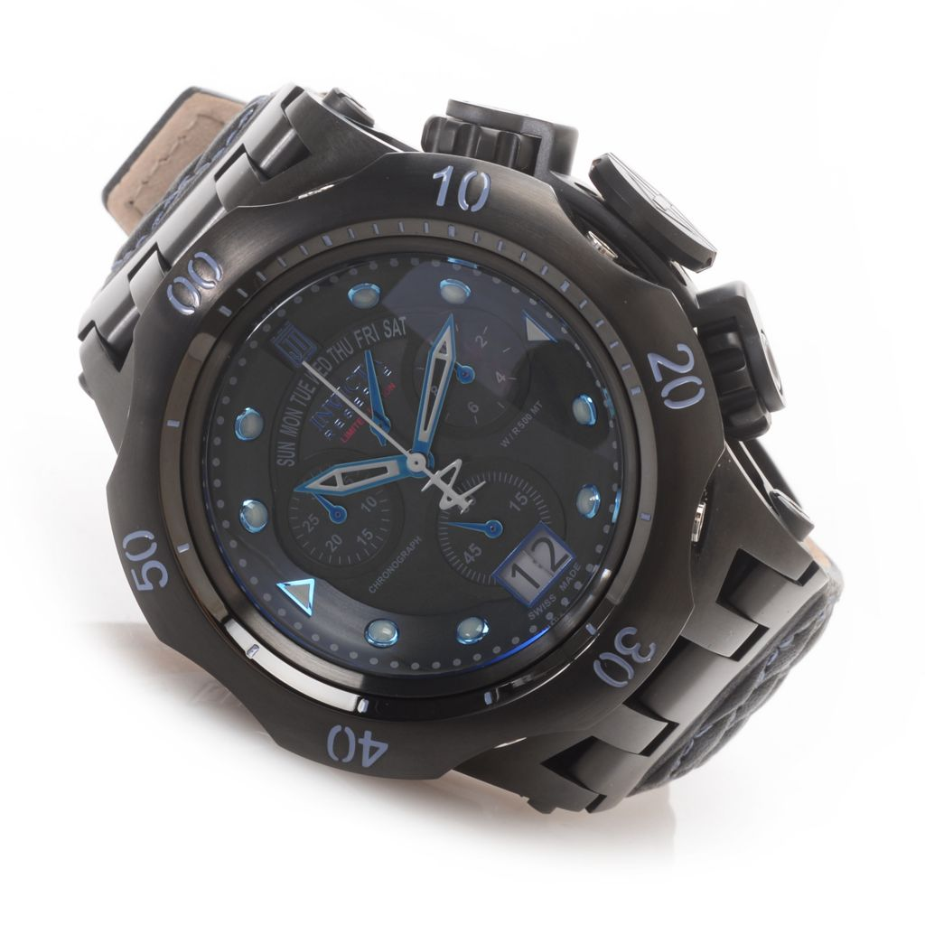 628-569 - Invicta Reserve 51mm Hybrid Jason Taylor Swiss Made Chronograph Leather Strap Watch w/ Three-Slot Di