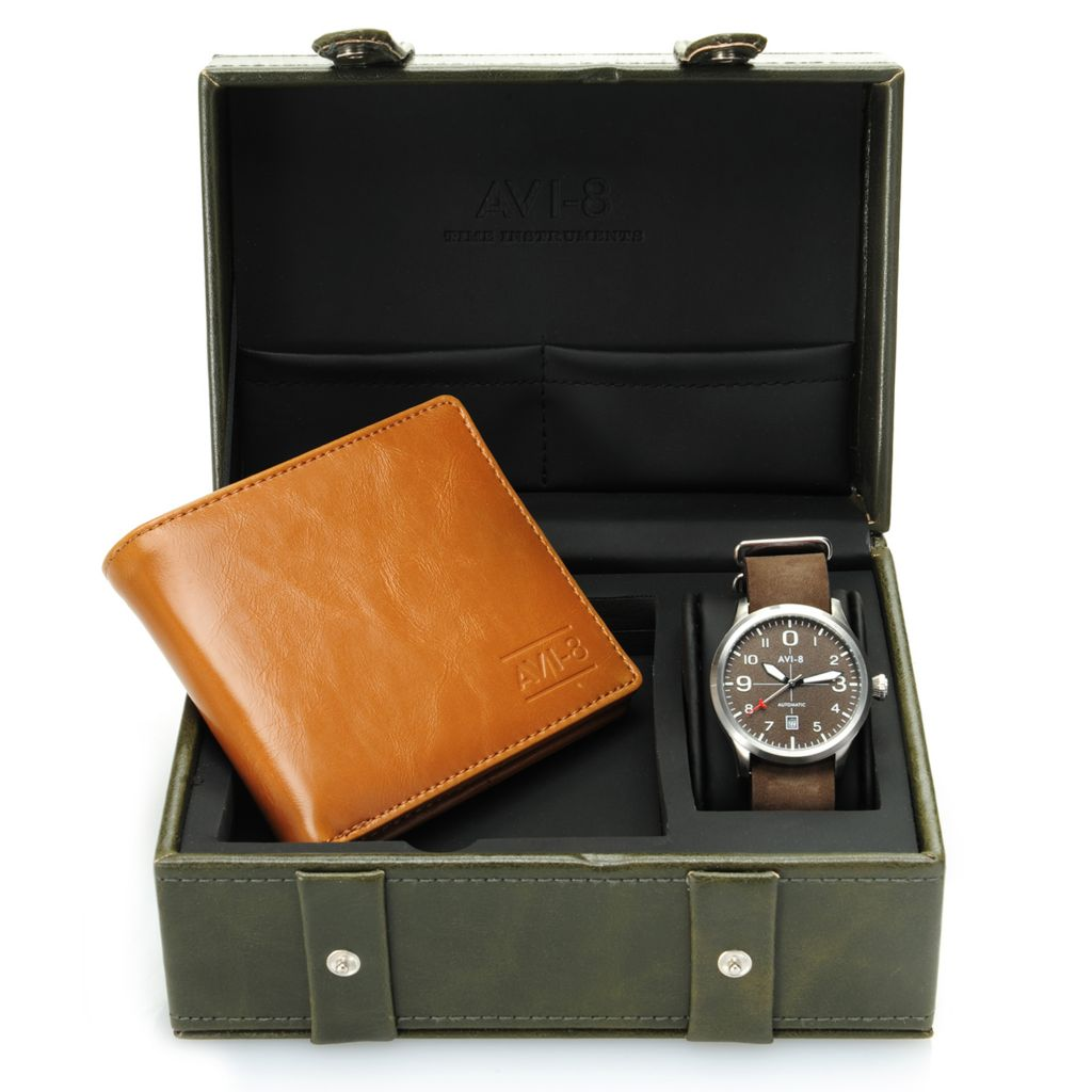 628-573 - AVI-8 42mm Flyboy Automatic Nato Strap Watch w/ Wallet & Collector's Box