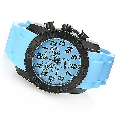 628-587 - Swiss Legend 47mm Commander Swiss Quartz Chronograph Titanium Silicone Strap Watch