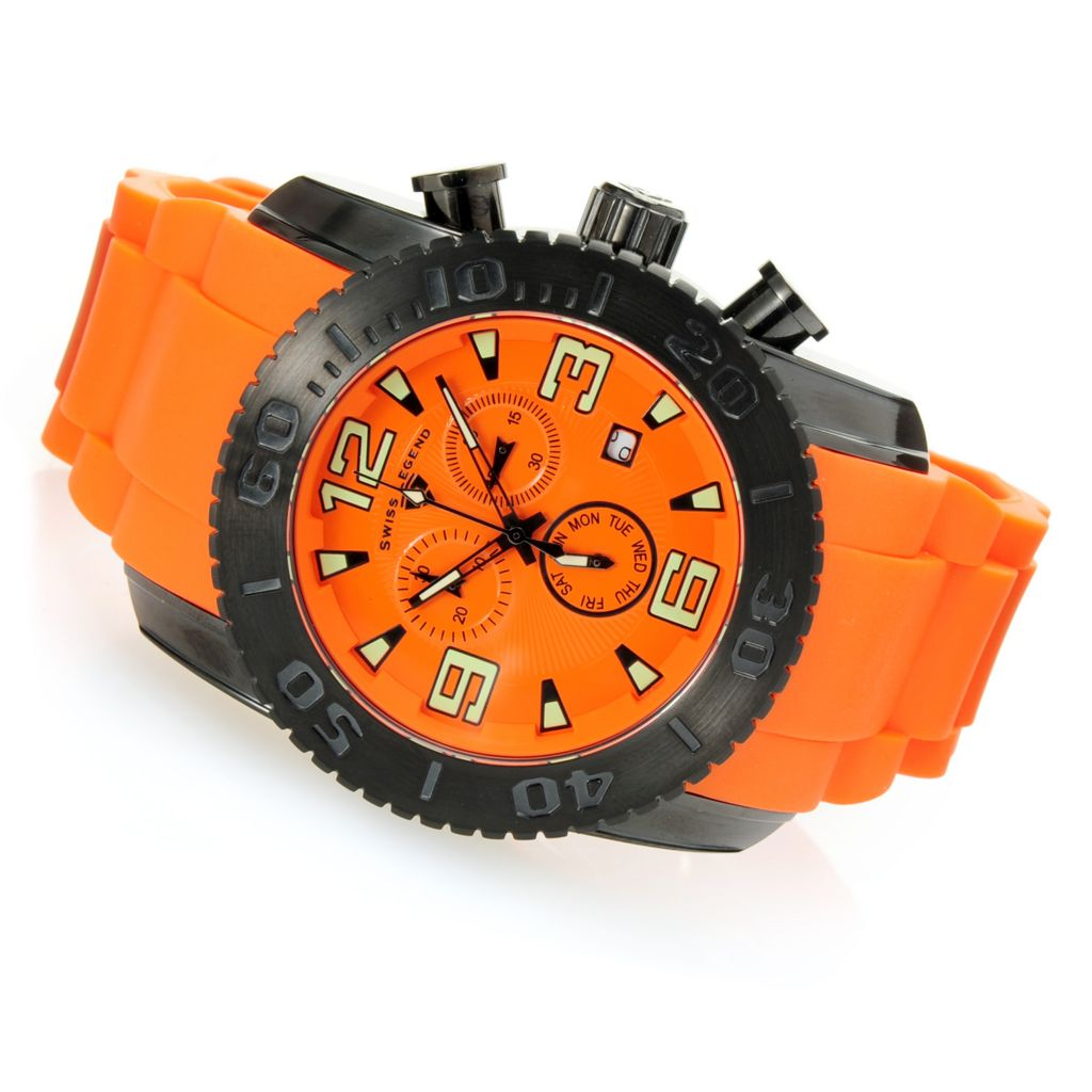 628-588 - Swiss Legend 47mm Commander Swiss Quartz Chronograph Black IP Case Silicone Strap Watch