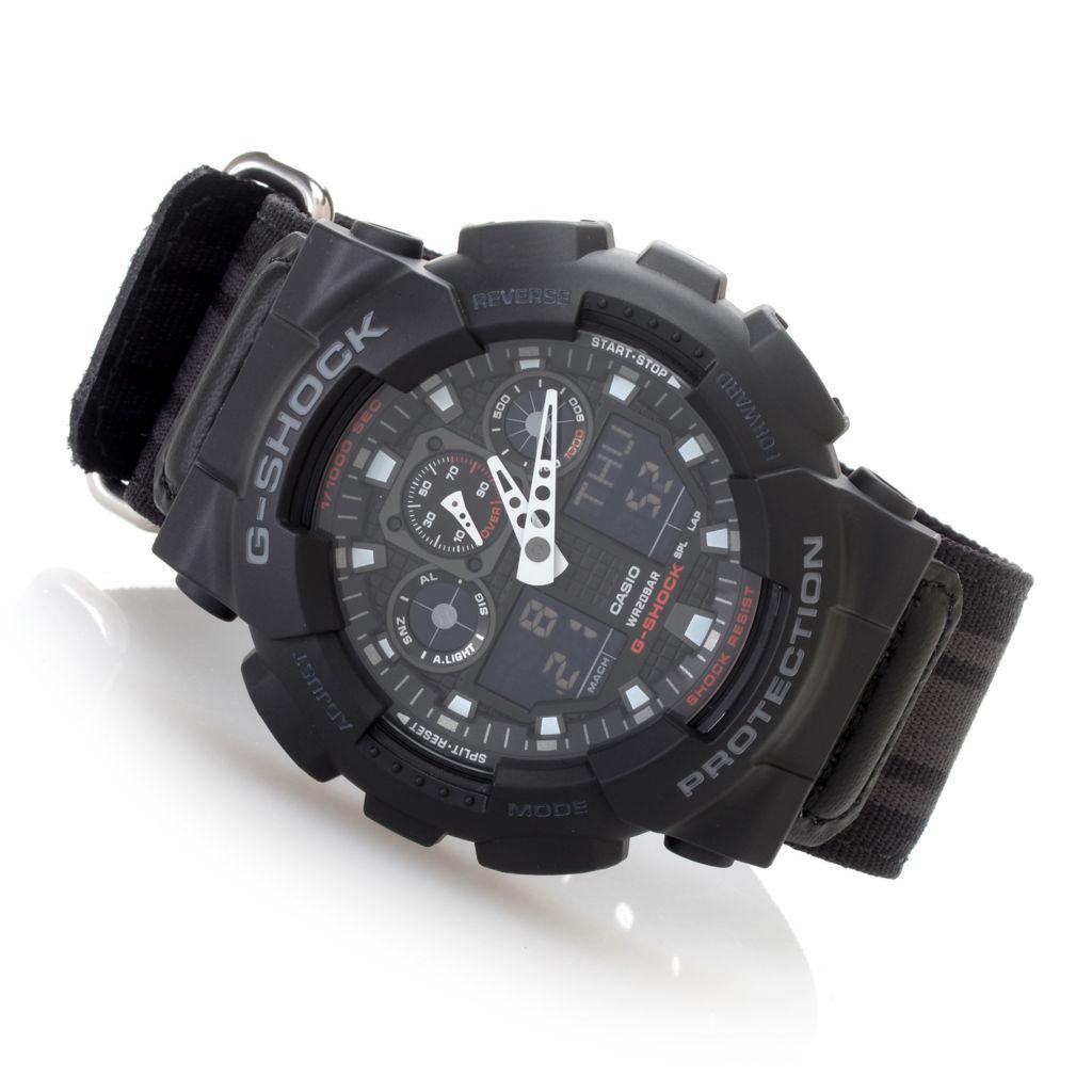 628-589 - Casio 51mm G-Shock Quartz Chronograph Analog/Digital Rubber Case Nylon Strap Watch