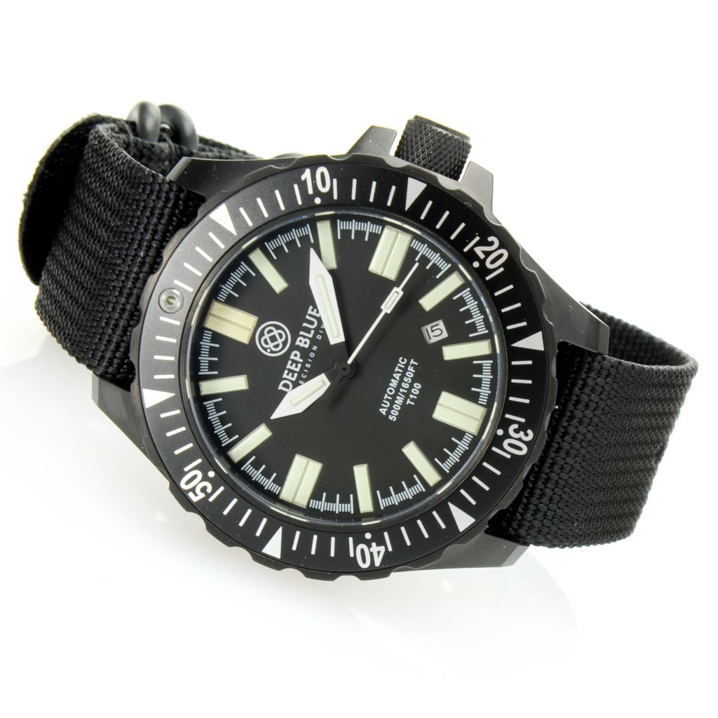 628-597 - Deep Blue 44.5mm Day/Night Automatic T-100 Tritium Tube Nylon Zulu Strap Watch
