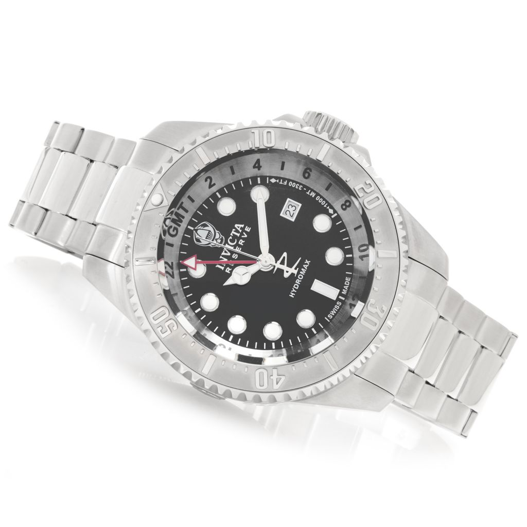 628-599 - Invicta Reserve 52mm Hydromax Swiss Made Quartz GMT Bracelet Watch w/ Eight-Slot Dive Case